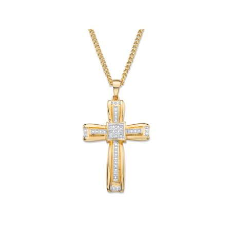 White Diamond Accent Two-Tone Layered Cross Pendant and Curb-Link Necklace 14k Yellow Gold-Plated 22