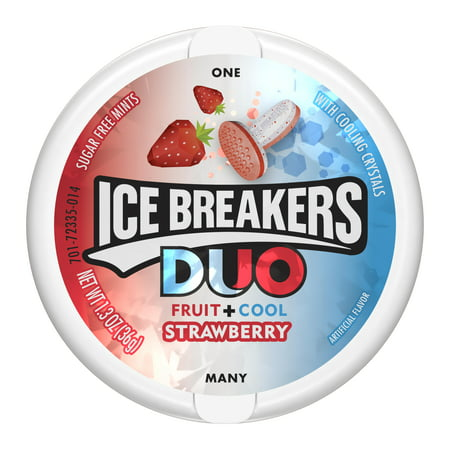 Ice Breakers Duo Fruit + Cool Strawberry Sugar Free Mints, 1.3 oz