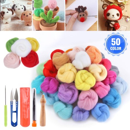 EEEKit Needle Felting Kit, Wool Roving 50 Colors Set, Needle Felting Starter Kit, Wool Felt Tools & Foam Mat, Fibre Yarn Needle Felting Supplies for DIY Needle Felting Craft Gift