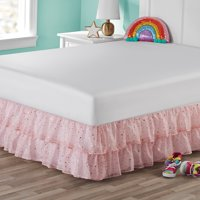 Your Zone Organza Two-Tier Ruffle Bed Skirt Gold Metallic Printed Polar Pink Twin