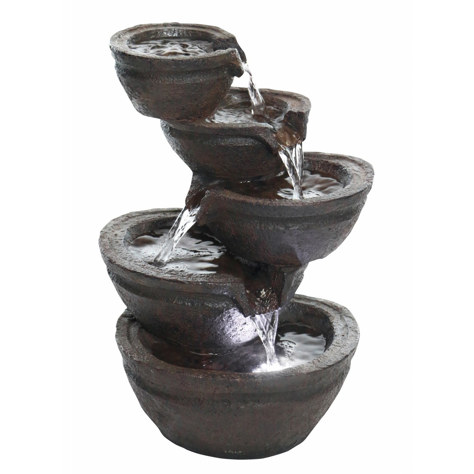 Tiering Bowls Fountain with White LED Light by Alpine Corporation