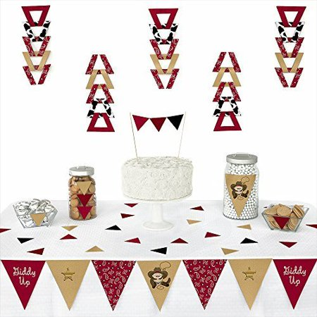 Little Cowboy - Western Triangle Party Decoration Kit - 72 Pieces