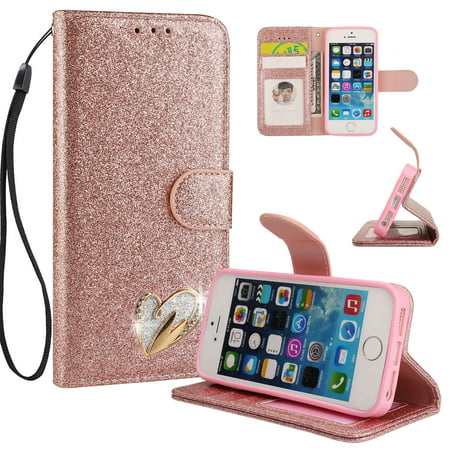 Bling Lanyards (iPhone 5 5S Case Wallet, iPhone SE Case, Allytech Glitter Folio Kickstand with Wristlet Lanyard Shiny Sparkle Luxury Bling Card Slots Slim Cover for Apple iPhone 5 5S SE)