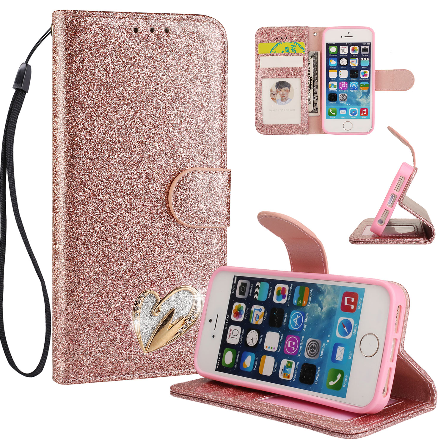 iPhone 5 5S Case Wallet, iPhone SE Case, Allytech Glitter Folio Kickstand with Wristlet Lanyard Shiny Sparkle Luxury Bling Card Slots Slim Cover for Apple iPhone 5 5S SE (Rosrgold)