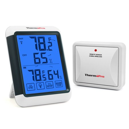 ThermoPro TP65 Wireless Temperature humidity Indoor Outdoor Digital Thermometer Wireless Hygrometer and Humidity Monitor with Jumbo Touchscreen and Backlight Humidity (Thermopro Tp50 Hygrometer Thermometer Indoor Humidity Monitor)