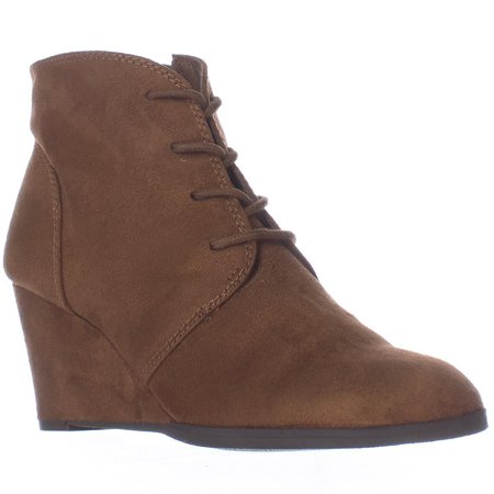 - Womens Baylie Lace Up Wedge Booties, Chestnut