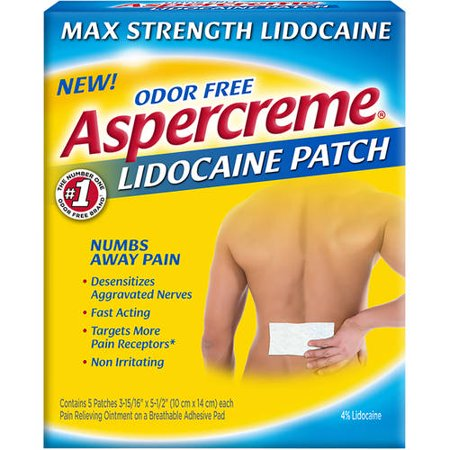 Aspercreme Lidocaine Patch Max Strength Odor Free   5 Ct