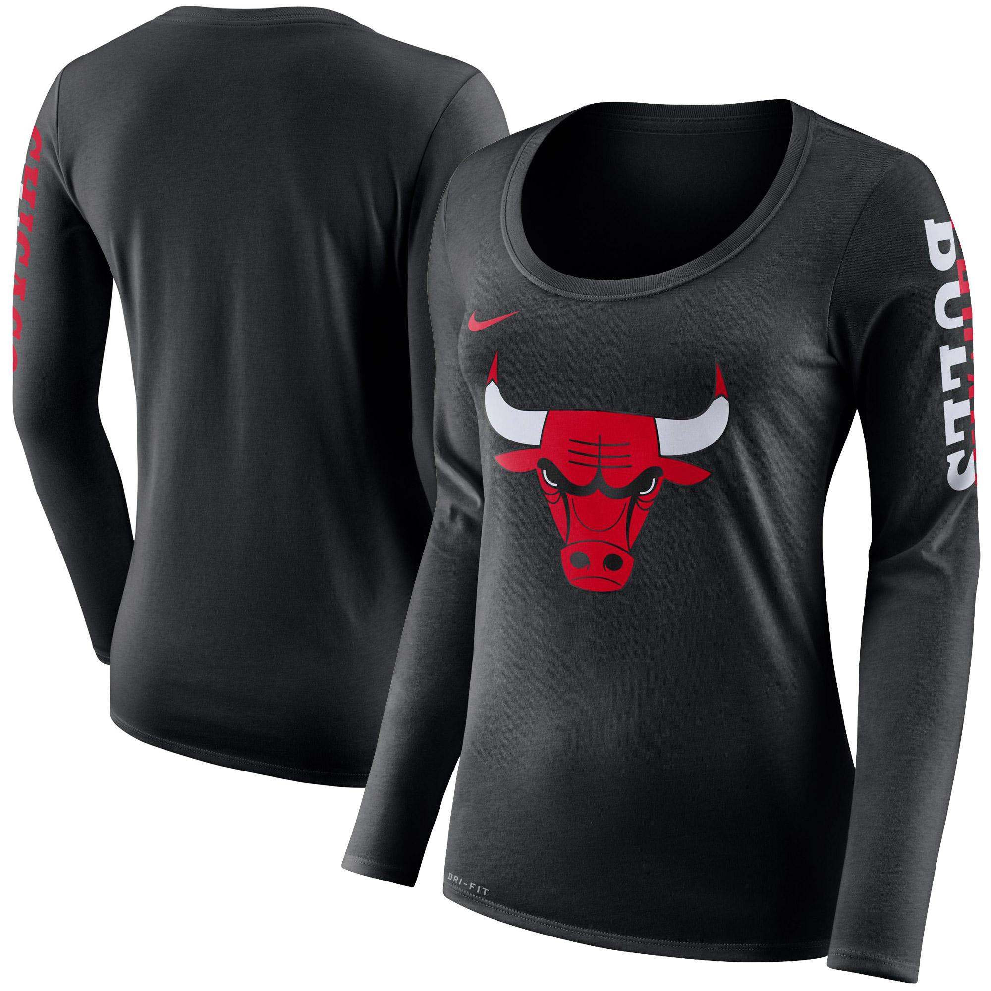 Chicago Bulls Nike Women's Primary Logo Long-Sleeve T-Shirt - Black
