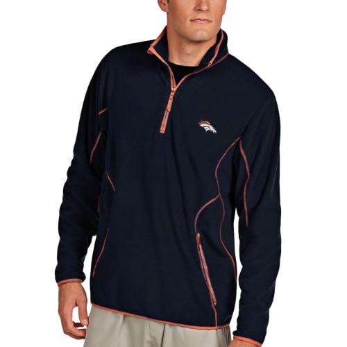Denver Broncos Antigua Ice 1/4-Zip Microfleece Pullover Jacket - Navy