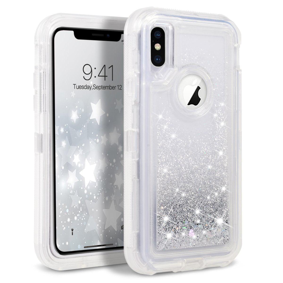 "Apple IPhone XS MAX (6.5"") Tough Defender Sparkling Liquid Glitter Heart Case Cover"