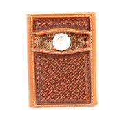 Nocona Western Wallet Mens Trifold Hair Hide Concho Tan N5415808