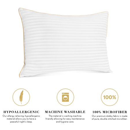 Italian Collection Dobby Striped Gel Fiber Pillow 2 Pack by Noble Linens