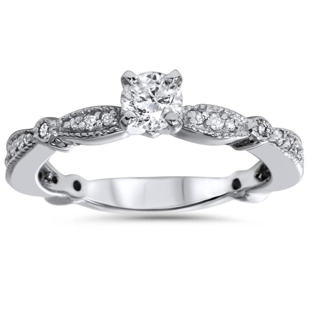3/4ct Vintage Diamond Engagement Ring 14K White Gold - image 1 de 1