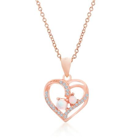 Lesa michele cubic zirconia rose opal heart pendant in rose gold lesa michele cubic zirconia rose opal heart pendant in rose gold over sterling silver aloadofball Choice Image