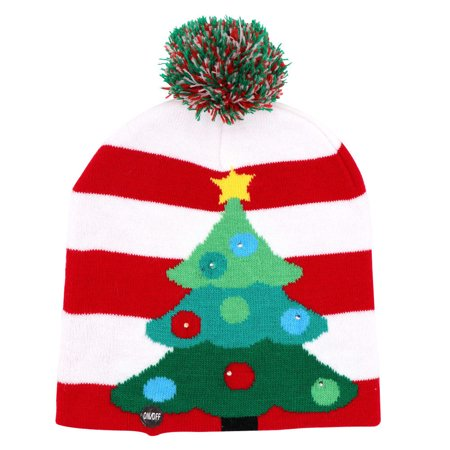 Gilbin Christmas Holiday Led Light Up Pom-Pom Knit Beanie Cap Matching Hat