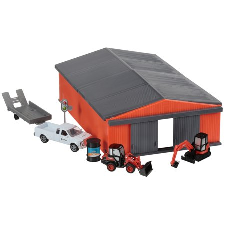 Construction Equipment - Kubota® Construction Equipment Vehicles & Shed Toy Set 19 pc Box