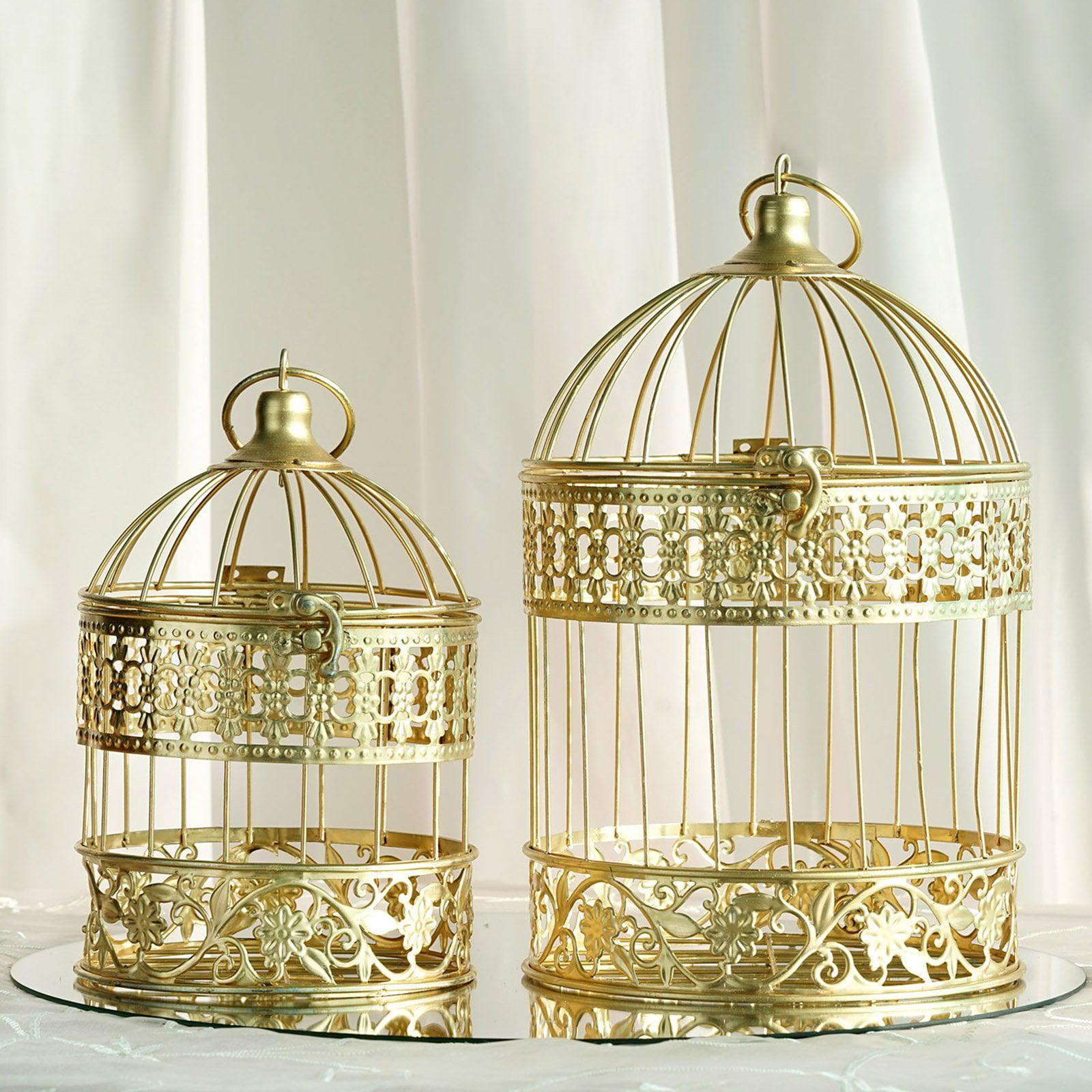 Efavormart 2 Sets Of Large Metallic Gold Bird Cage Wedding Centerpiece Table Party Decor All Occasions 9 13 Tall Walmart Com Walmart Com