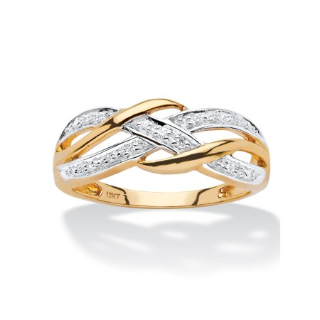 Diamond Accent Braided Crossover Ring in Solid 10k Yellow Gold