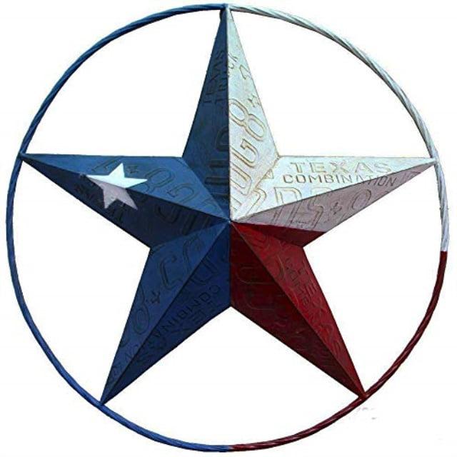 Texas Flag Painted Metal Star Wall