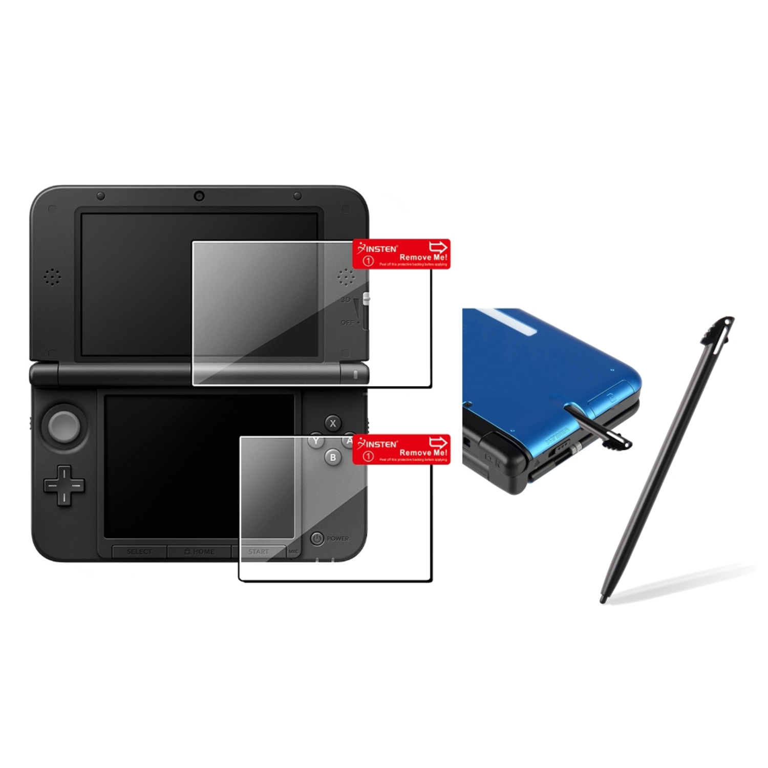Insten 2x Clear Top+Bottom LCD Screen Protector+Black Stylus For Nintendo 3DS XL