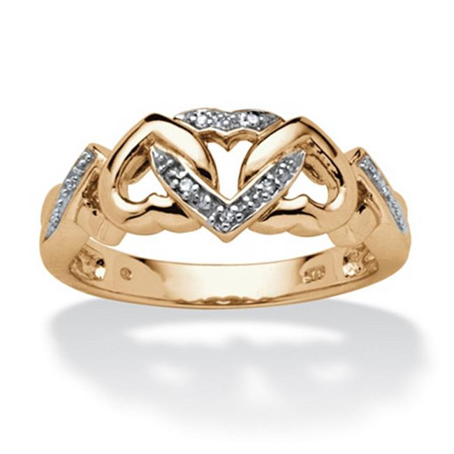 PalmBeach Jewelry 544567 Diamond Accent Interlocking Hearts Ring in 18k Gold over Sterling Silver