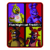Five Nights at Freddy's Silky Soft Throw, 40? x 50?, Red Purple and Yellow