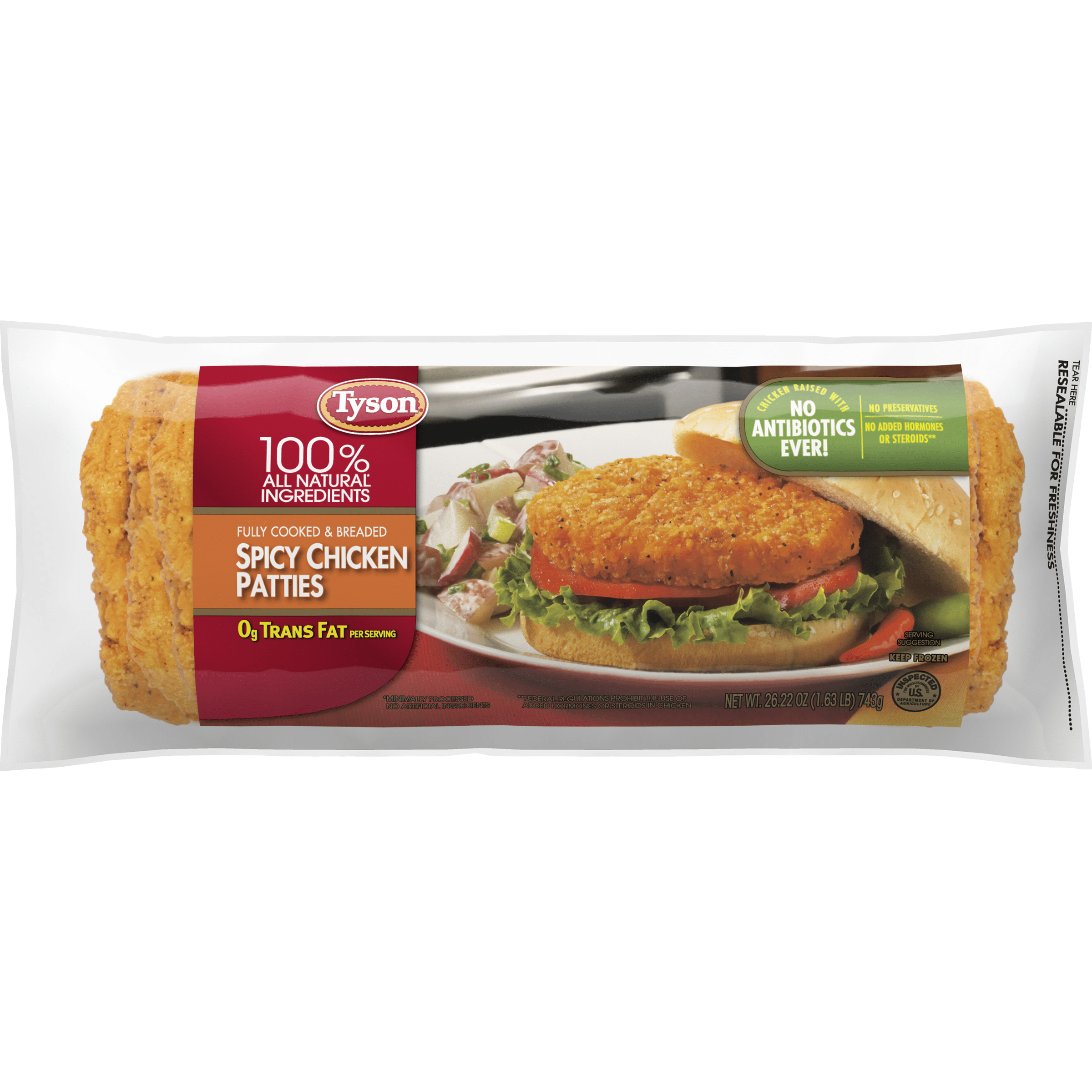 Tyson® Fully Cooked Spicy Chicken Patties, 26.22 Oz