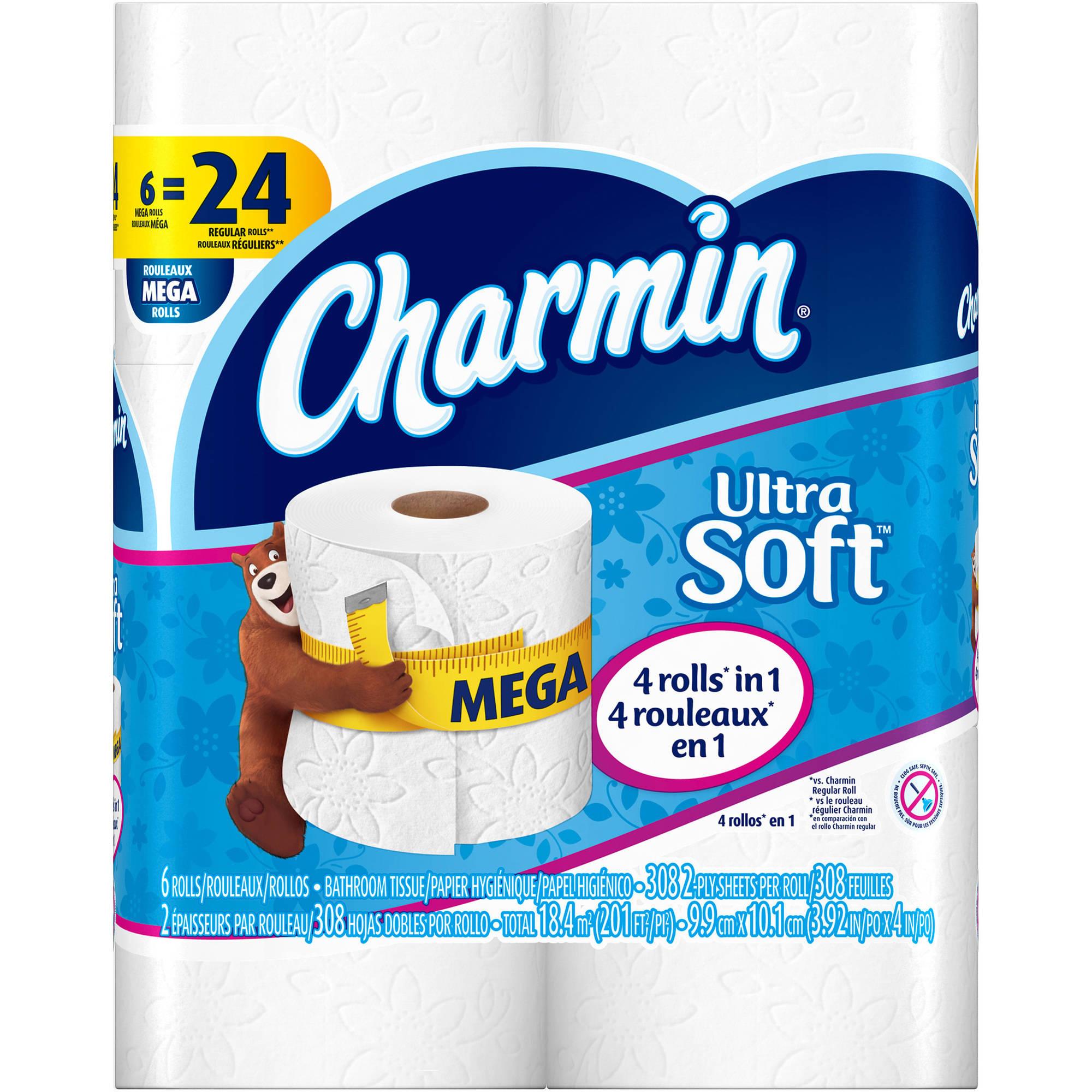 Charmin Ultra Soft Toilet Paper Mega Rolls, 308 sheets, 6 rolls