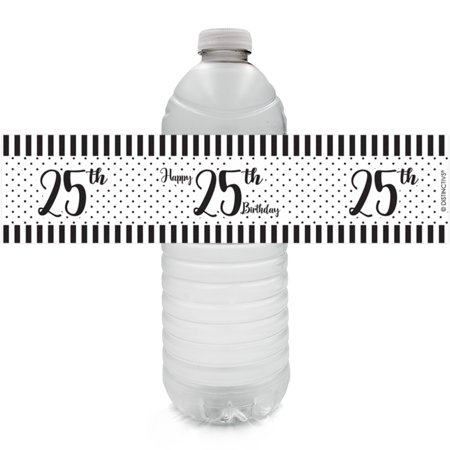 25th Birthday Water Bottle Labels, 24ct - Black and White Stripe and Polka Dot Birthday Party Supplies - 24 Count Stickers](Birthday Black And White)