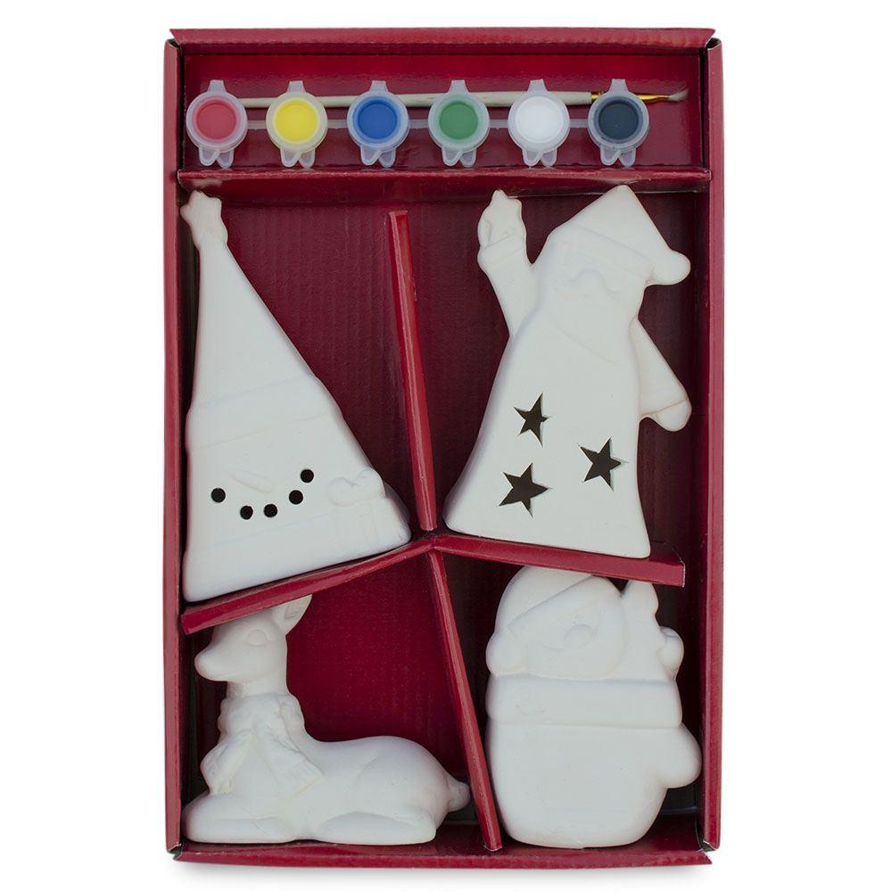 Paint your Own 4 White  Plaster Figurines: Deer, Santa, Snowman and Christmas Tree DIY Craft Kit