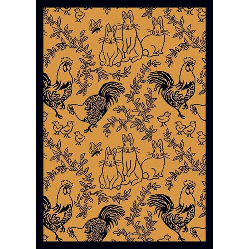 Joy Carpets Nature Feathers and Fur Navy Area Rug