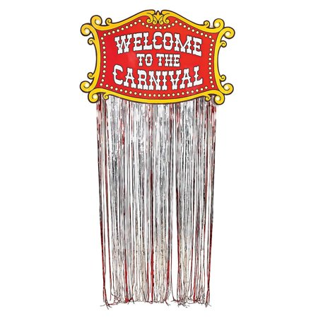Welcome To The Carnival Door Curtain Foil Fringe Circus Entrance Decoration - Circus Door Decorations