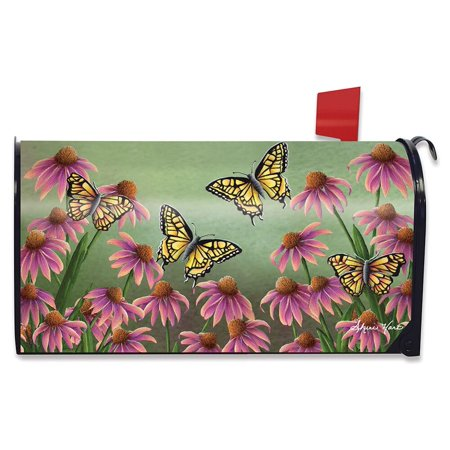 Weather Vinyl Mailbox Cover - Echinacea Butterfly Spring Mailbox Cover Monarch Butterflies Floral Standard