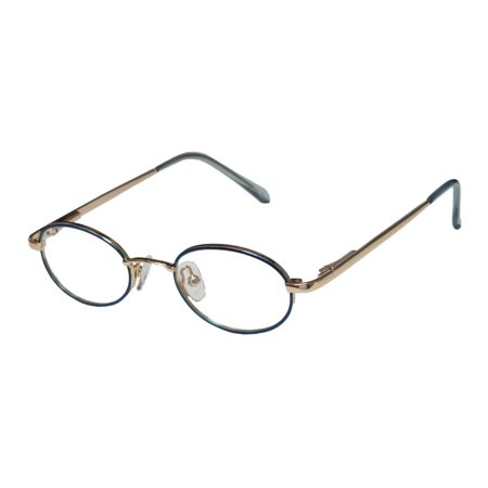 New Dy 007 Unisex/Boys/Girls/Kids Oval Full-Rim Blue / Gold Classic Shape Oval Casual Affordable Frame Demo Lenses 40-18-130 Spring Hinges (Eyeglasses For Oval Face Shape)