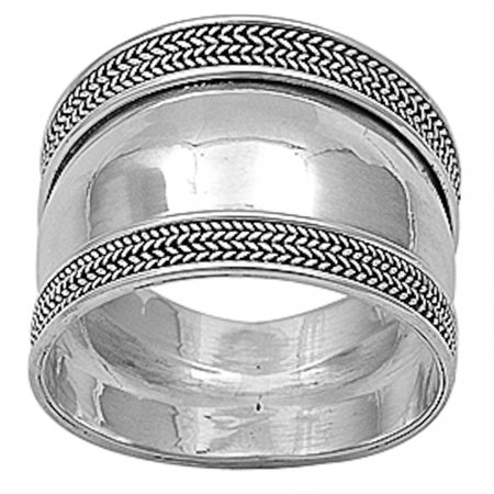 New Braided Bali Design Band .925 Sterling Silver Ring Sizes 5-12 - New Design Ring