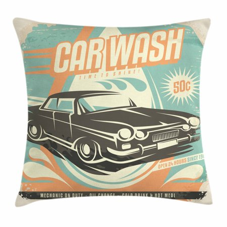 Cars Throw Pillow Cushion Cover Retro Car Wash Poster Mechanic Inspiration Cleaning Decorative Pillows