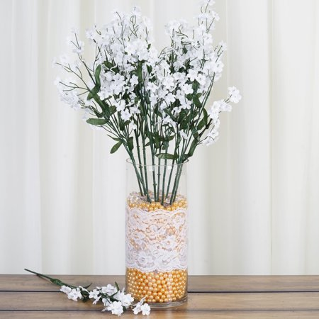 BalsaCircle 12 Bushes Baby Breath Silk Filler Flowers - DIY Home Wedding Party Artificial Bouquets Arrangements Centerpieces (Silk Plant Centerpiece)