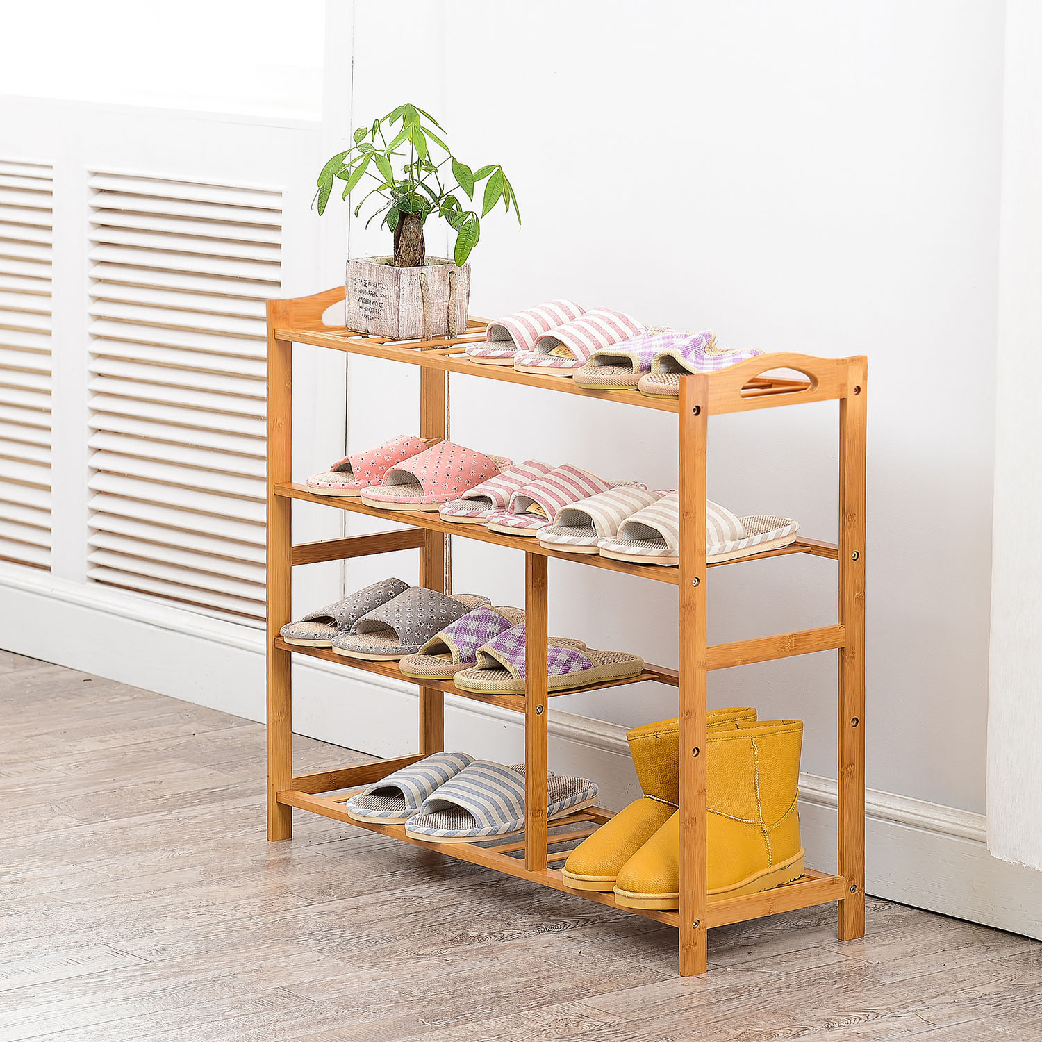 Allieroo Bamboo 4 Tier Shoe Rack Entryway Shoe Shelf Holder Storage Organizer Furniture
