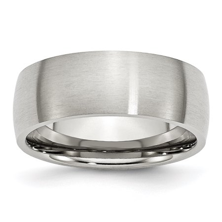 Stainless Steel 8 Mm Brushed Domed Wedding Band 100% Original Jewelry & Watches Engagement & Wedding