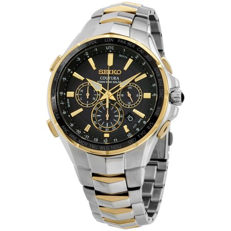 SSG010 Men's Coutura Radio Sync Solar Black Dial Two Tone Steel Chronograph World time Watch