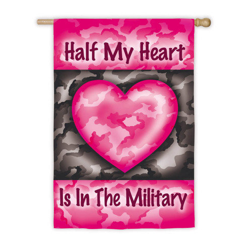 Half My Heart Military House Flag Valentines Day Yard Banner