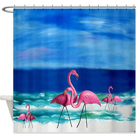 Pink Plastic Flamingos Troical Bird Beach Shower Curtain