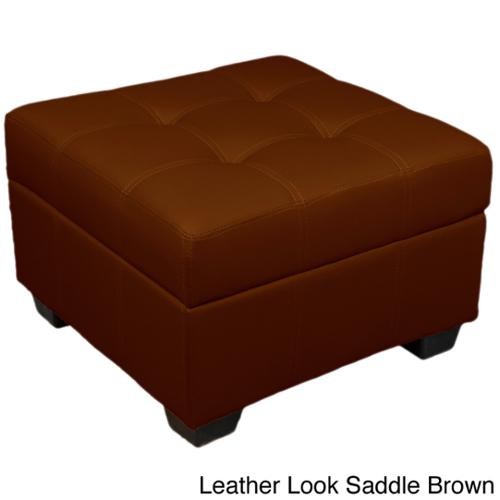 Vanderbilt Tufted Padded Hinged 24-inch Square Storage Ottoman Bench Leather Look Saddle Brown