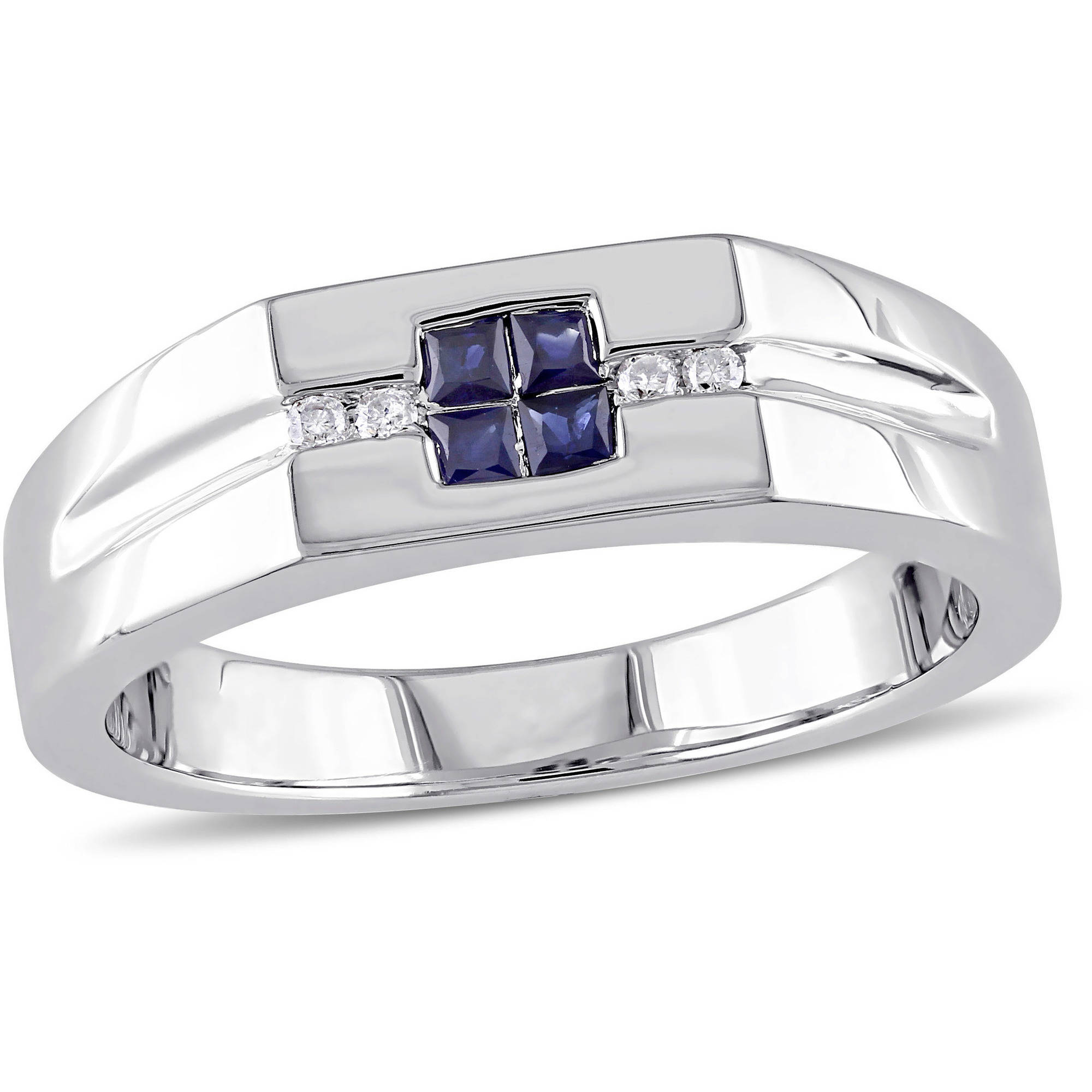 Tangelo Men's 1/3 Carat T.G.W. Sapphire and Diamond-Accent Sterling Silver Wedding Band