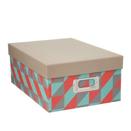 Decorative Photo Storage Box: Multicolor Squares