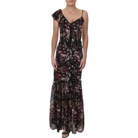 Bebe Womens Floral Ruffled Maxi Dress