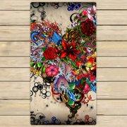 GCKG Wallpaper Stars Flowers Heart Emotions Colorful Hand Towel,Spa Towel,Beach Bath Towels,Bathroom Body Shower Towel Bath Wrap Size 30x56 inches