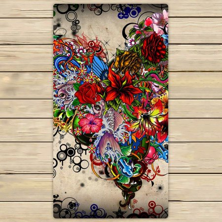 GCKG Wallpaper Stars Flowers Heart Emotions Colorful Hand Towel,Spa Towel,Beach Bath Towels,Bathroom Body Shower Towel Bath Wrap Size 30x56 inches