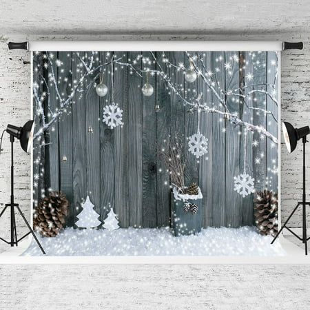 GreenDecor Polyster 7x5ft Christmas Background Snowflake Backdrops Christmas Wood Wall Backdrop Children Christmas Photography Props