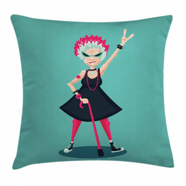 Retirement Party Throw Pillow Cushion Cover Cartoon Character Forever Young Old Lady As A Rebel Rock Fan Illustration Decorative Square Accent Pillow Case 20 X 20 Inches Multicolor By Ambesonne Walmart Com